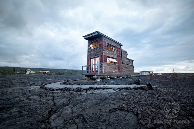 37m2 nad wulkanem Kilauea , budowa domu