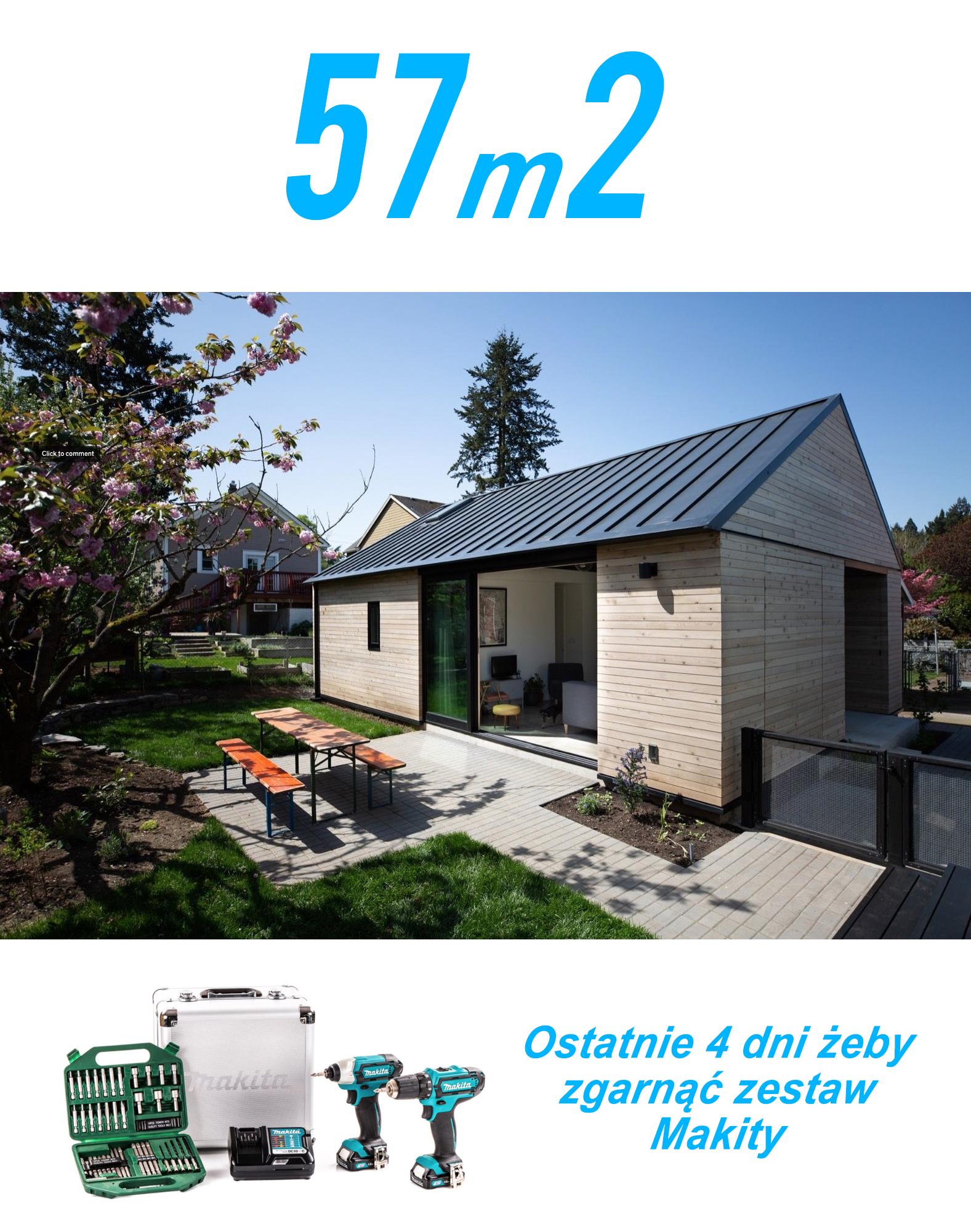 Projekt małego domu do 100m2, 56m2
